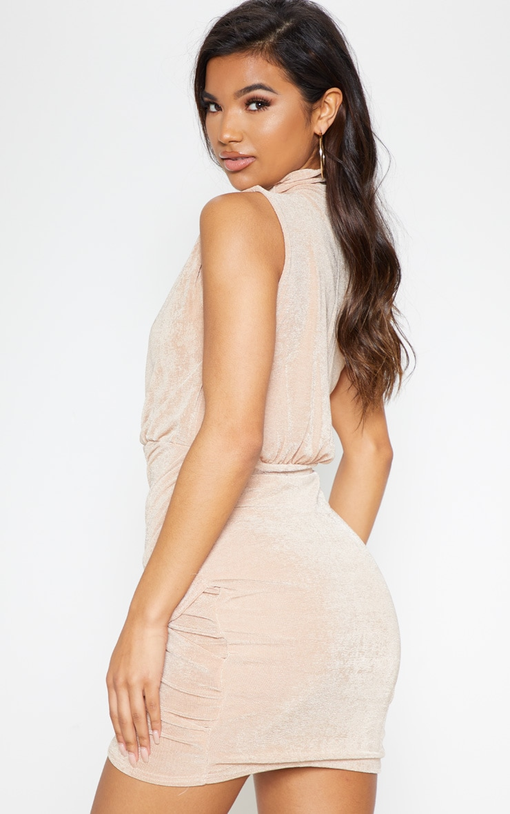 Champagne High Neck Ruched Side Bodycon Dress 3