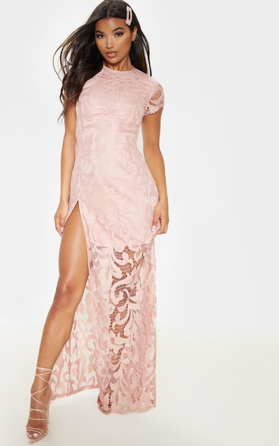 Nude Lace Cap Sleeve Extreme Split Maxi Dress