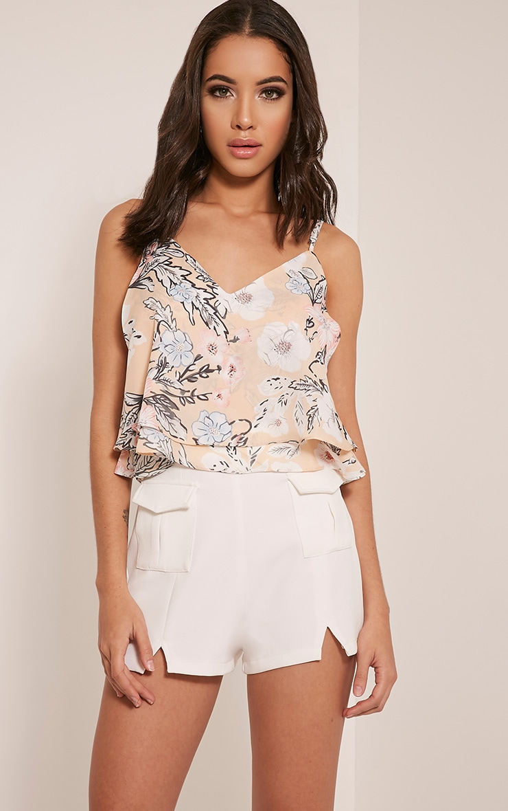 Sonya Nude Floral Chiffon Cami Top 1