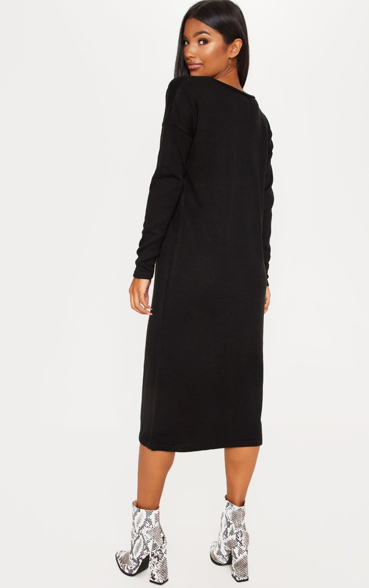 Black Longline Knitted Dress 2