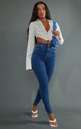 PRETTYLITTLETHING Mid Blue 5 Pocket Skinny Jeans 1