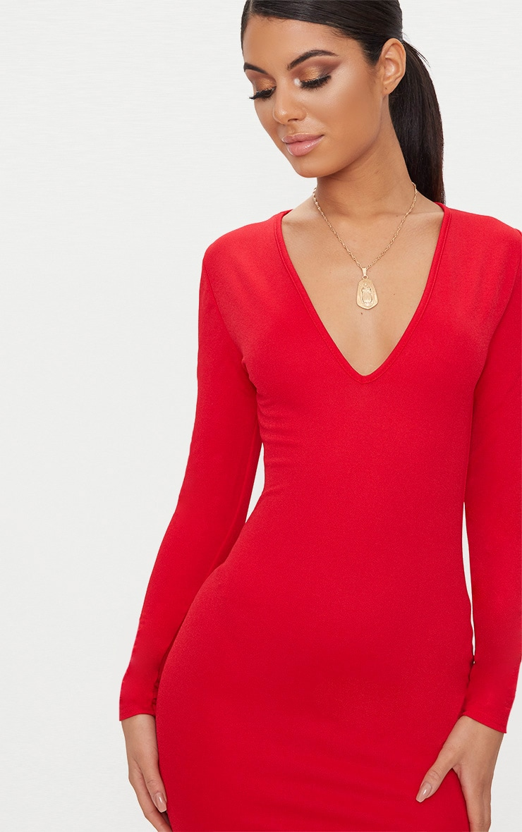 Red Long Sleeve Plunge Bodycon Dress 5