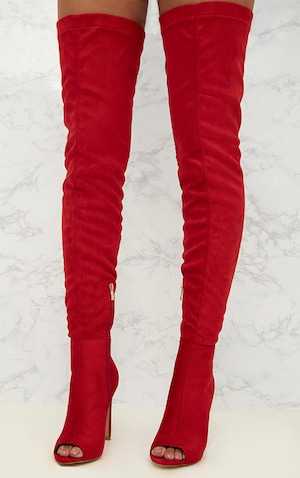 088f5a273fa Red Faux Suede Thigh High Peep Toe Heeled Boots