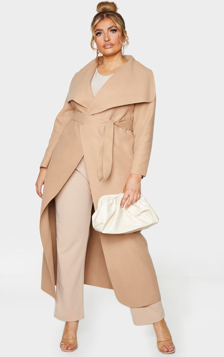 Plus Camel Maxi Oversized Waterfall Belted Coat 1