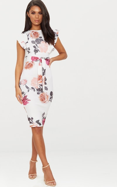 White Fl Print Frill Detail Midi Dress