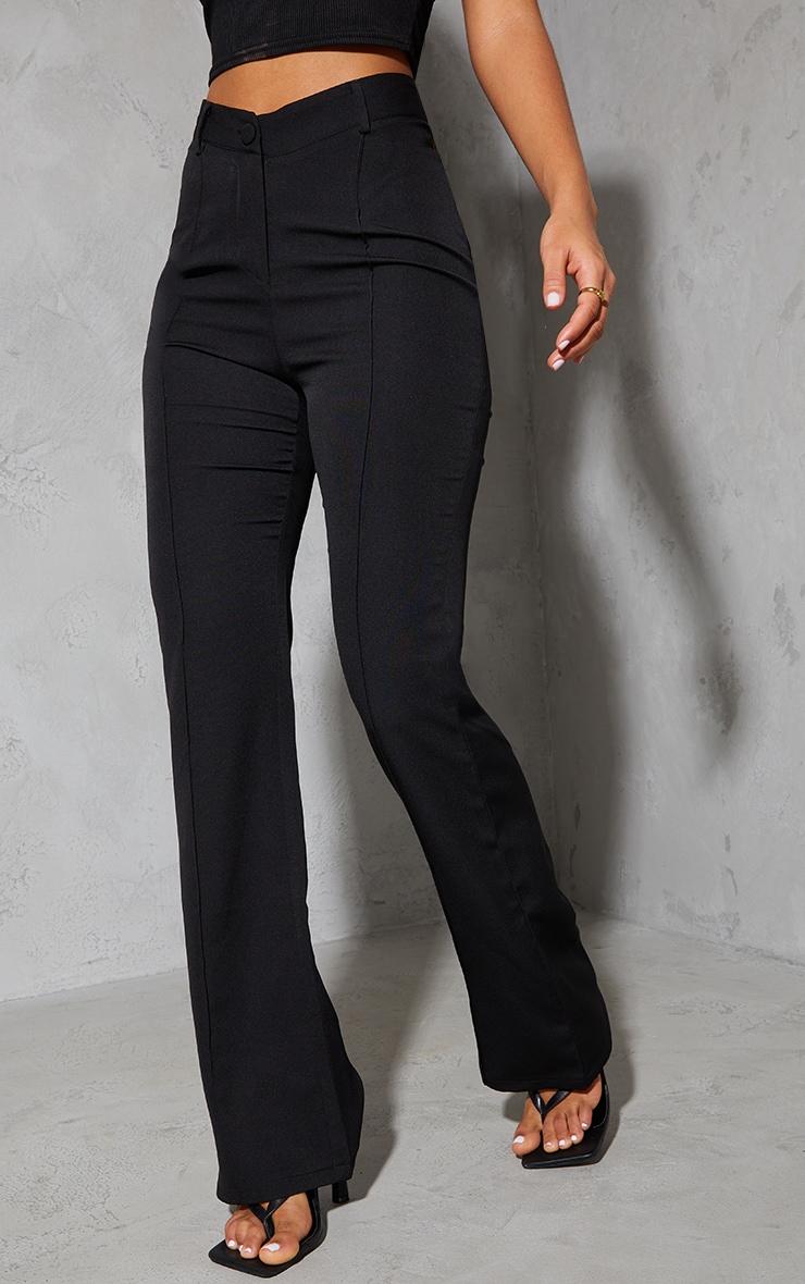 Black Woven V Front Pintuck Wide Leg Pants 2