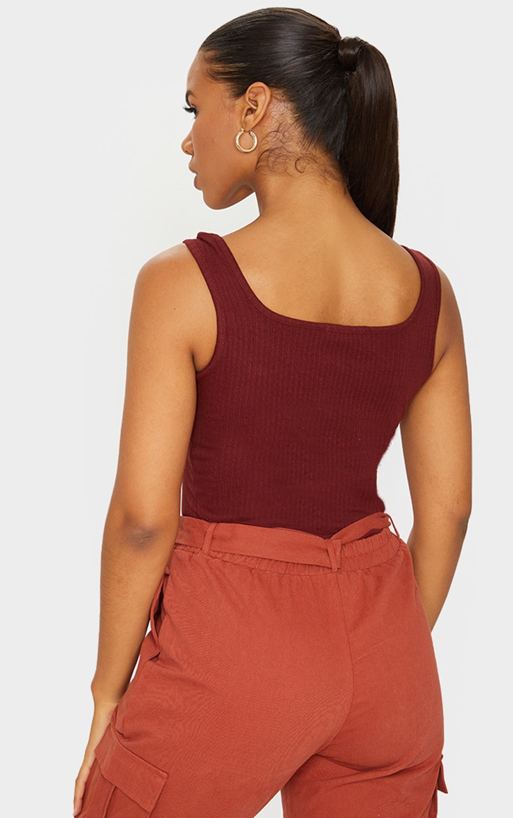 Chocolate Structured Rib Racer Vest 2