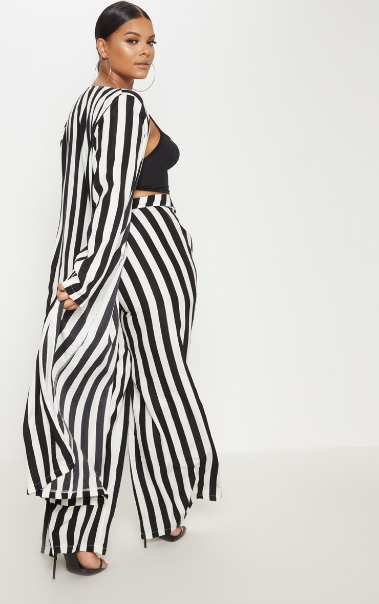 Plus Black Striped Longline Duster Jacket 2
