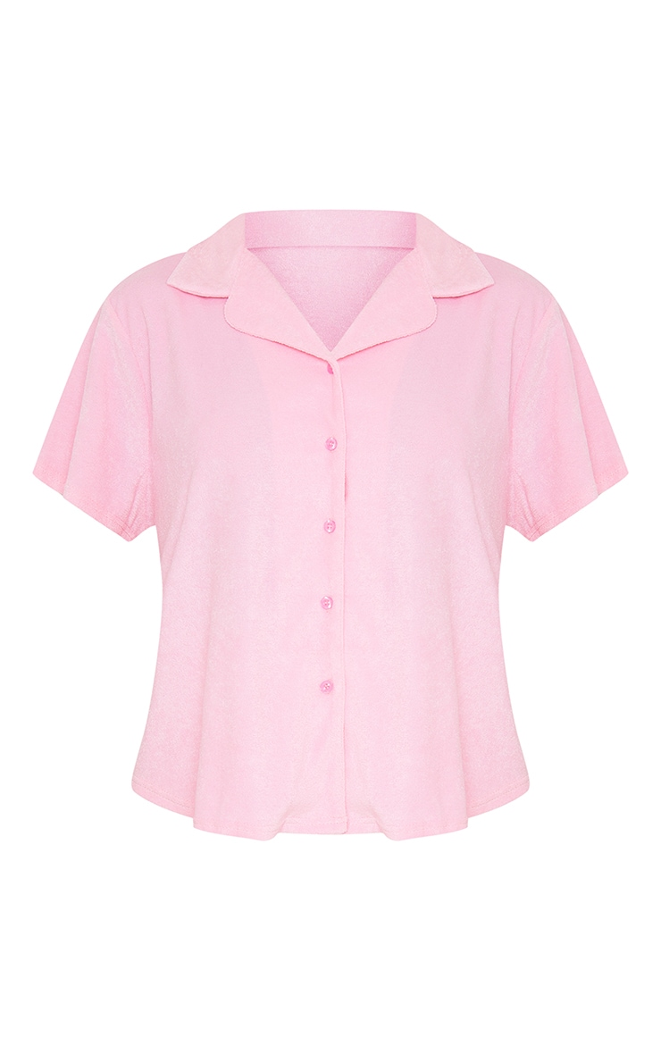 Pink Towelled Mix And Match Short Sleeve Button Up Lounge Top 5