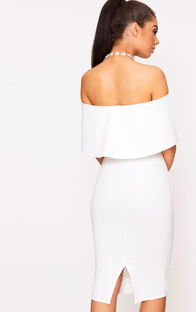 White Bardot Frill Midi Dress