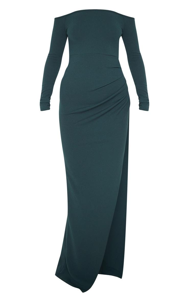 Emerald Green Wrap Over Long Sleeve Bardot Maxi Dress 3