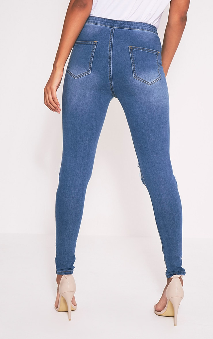 Mid Wash Open Knee Rip High Waisted Skinny Jean 5