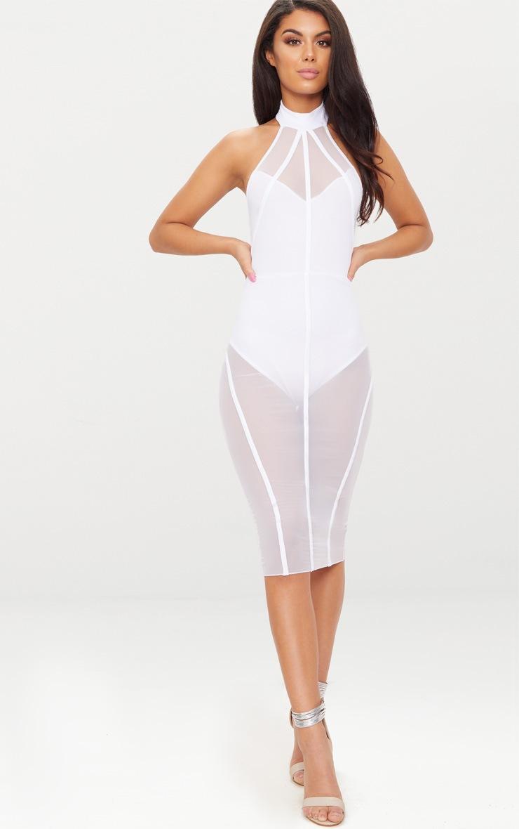 White High Neck Binded Detail Mesh Midi Dress 4