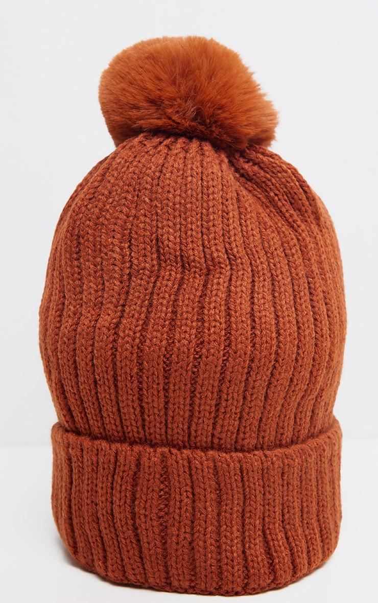 Rust Rib Knit Pom Pom Beanie Hat 3
