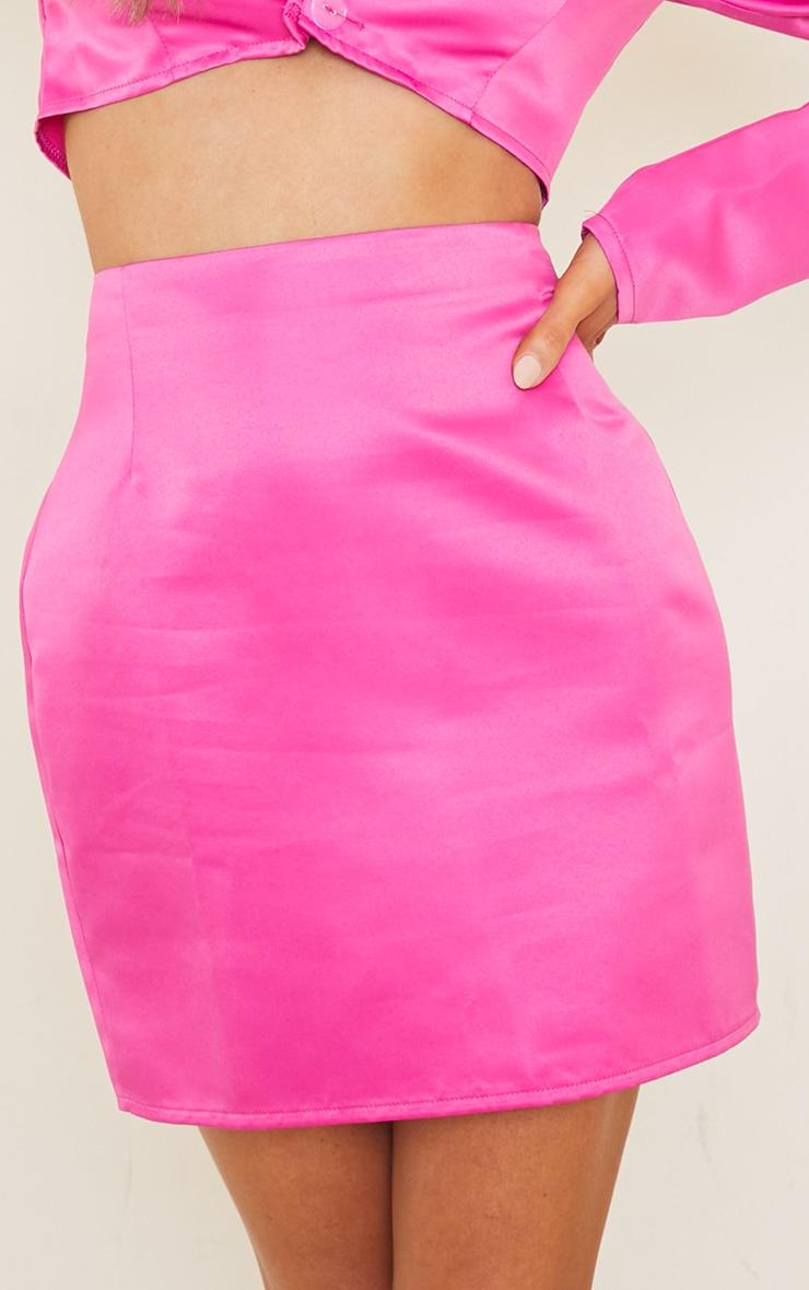 Fuchsia Bonded Satin Mini Skirt 5