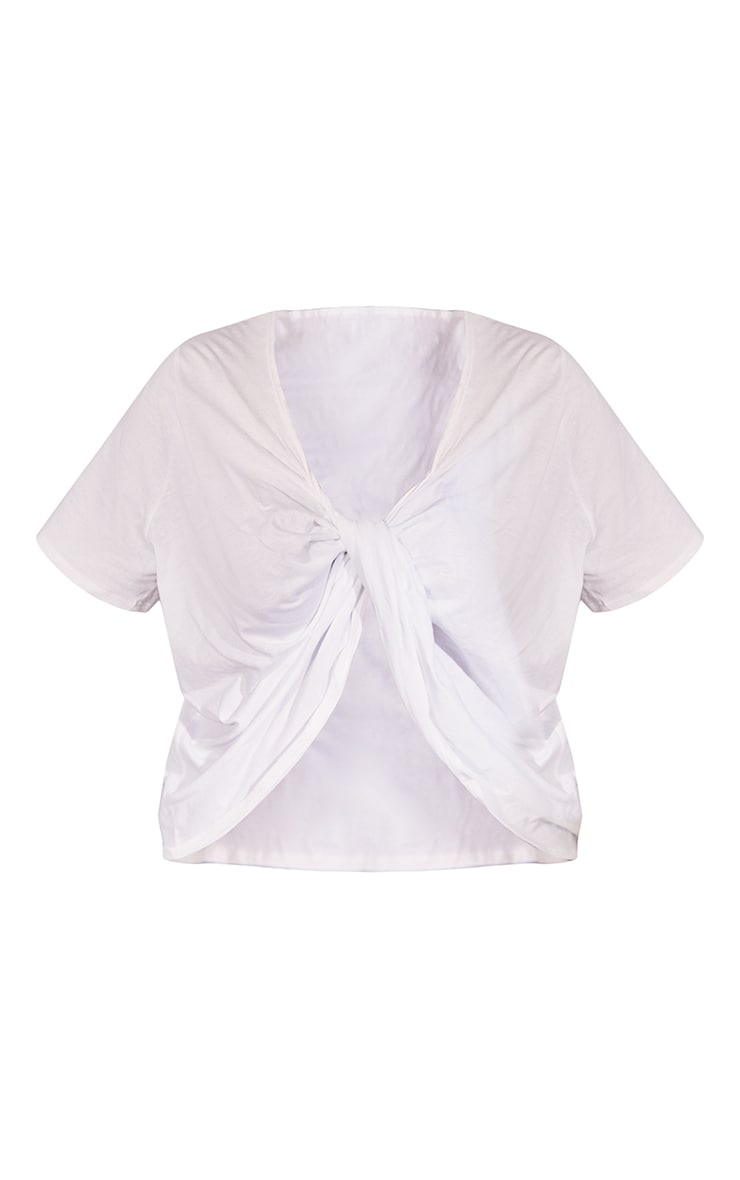 Plus White Knot Front Oversized T Shirt 5