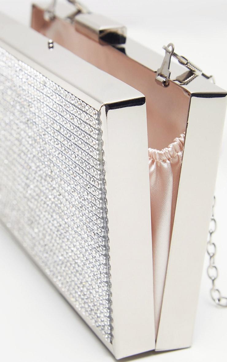 Silver Diamante Box Clutch 4