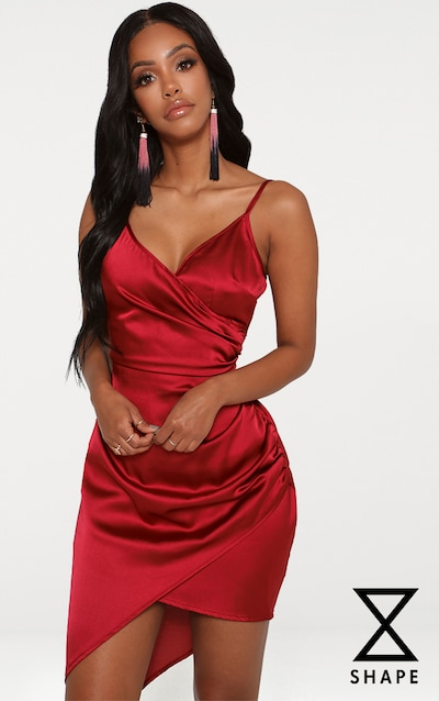 d52a1b8b08a Shape Burgundy Satin Wrap Dress