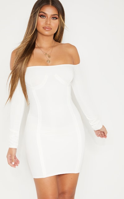 de05aa0f25 White Bandage Bardot Cup Detail Bodycon Dress