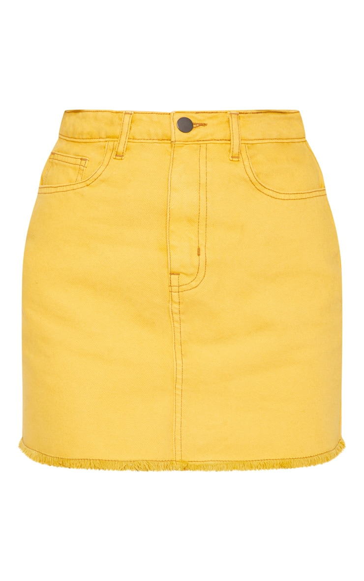 Yellow Distressed Denim Mini Skirt 3