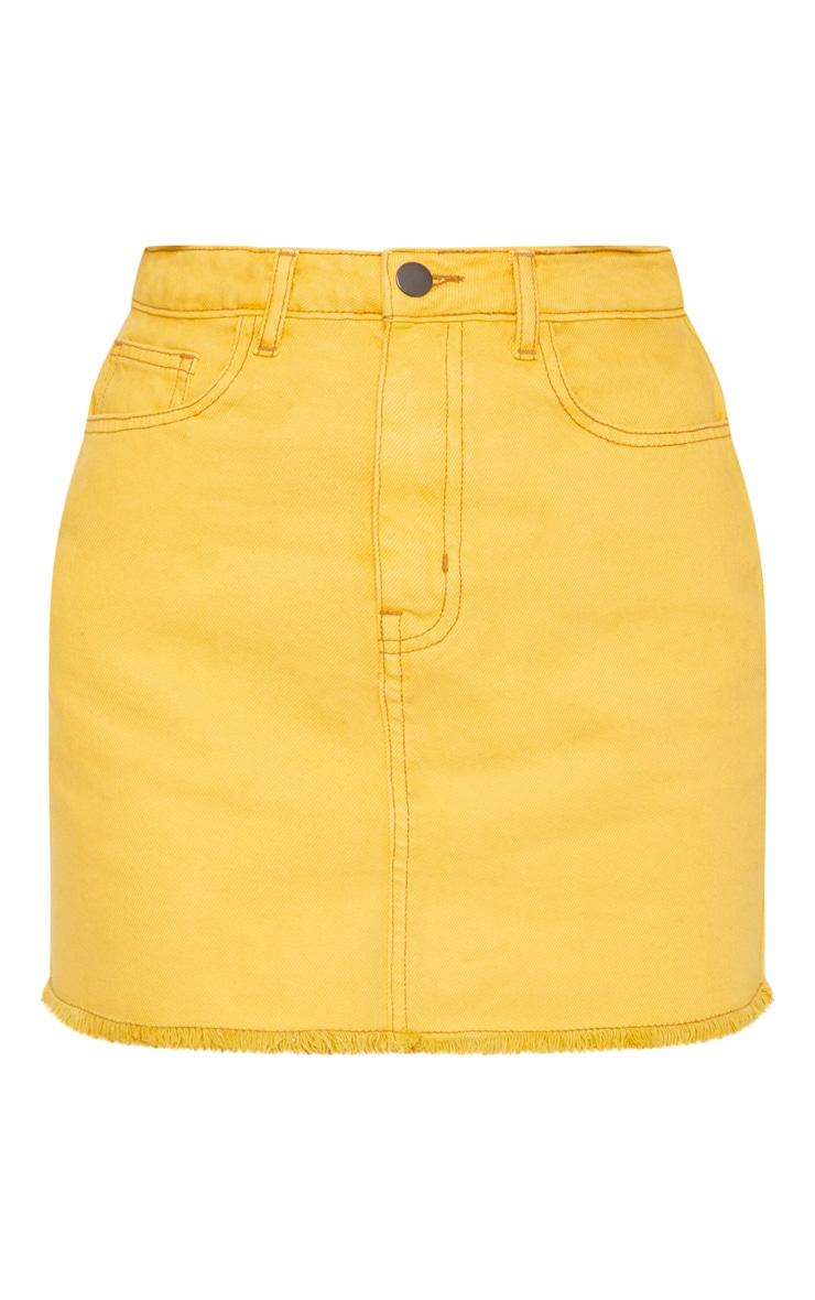 Mustard Distressed Denim Mini Skirt 3
