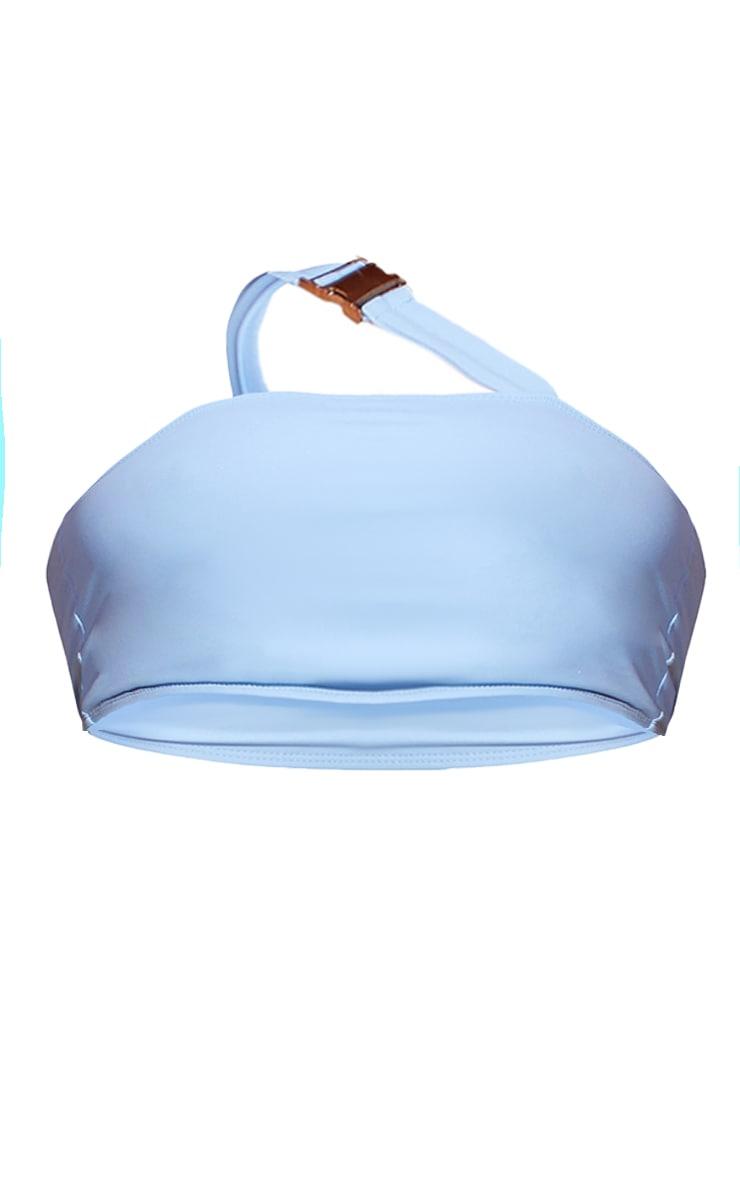 Blue Buckle Asymmetric Bandeau Bikini Top 5
