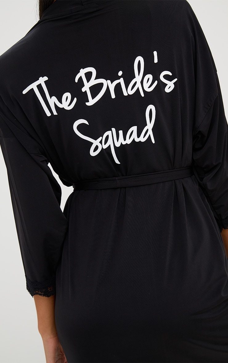 Black The Bride's Squad Black Slinky Dressing Gown 5