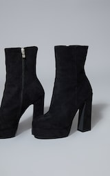 Black Faux Suede High Platform Ankle Boot 3