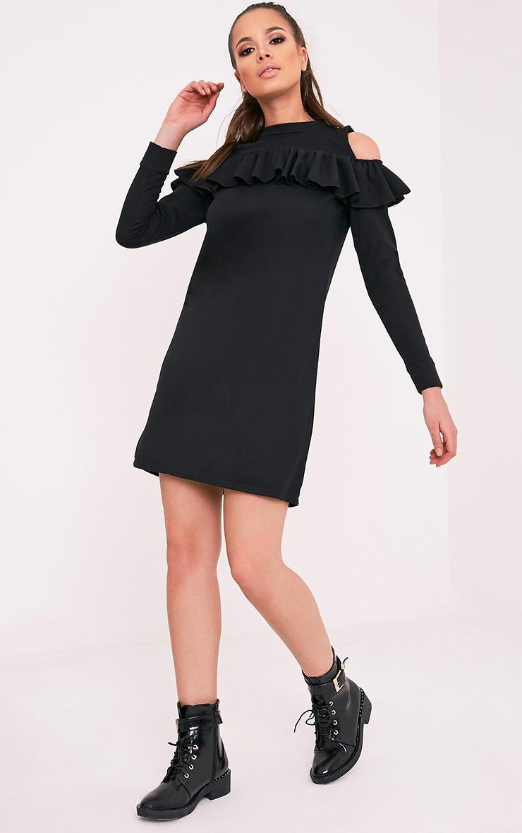 Bridy Black Cold Shoulder Sweater Dress 5