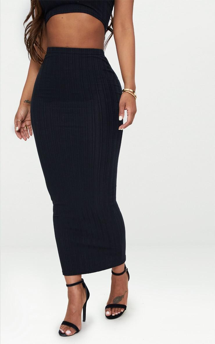 Shape Black Ribbed Longline Midi Skirt 2