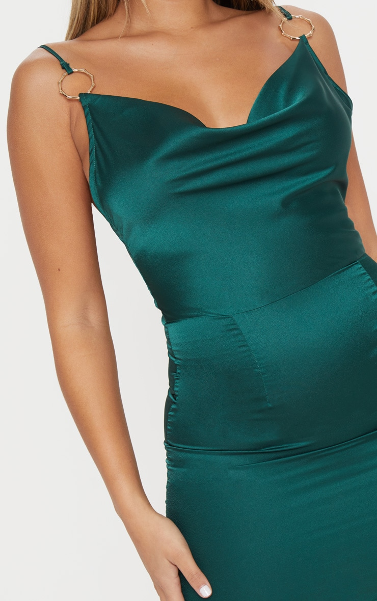 Emerald Green Satin Cowl Neck Ring Detail Bodycon Dress 5