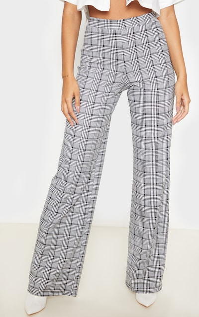 Black Check Wide Leg Trouser