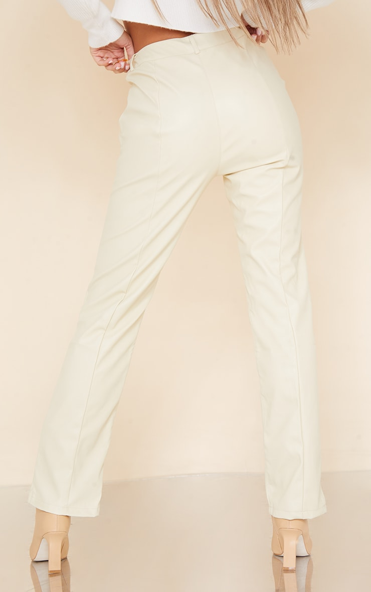 Cream Faux Leather V Front Skinny Trousers 3