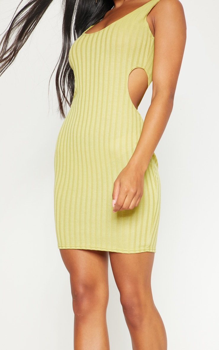 Lime Ribbed Cut Out Bodycon Dress 5