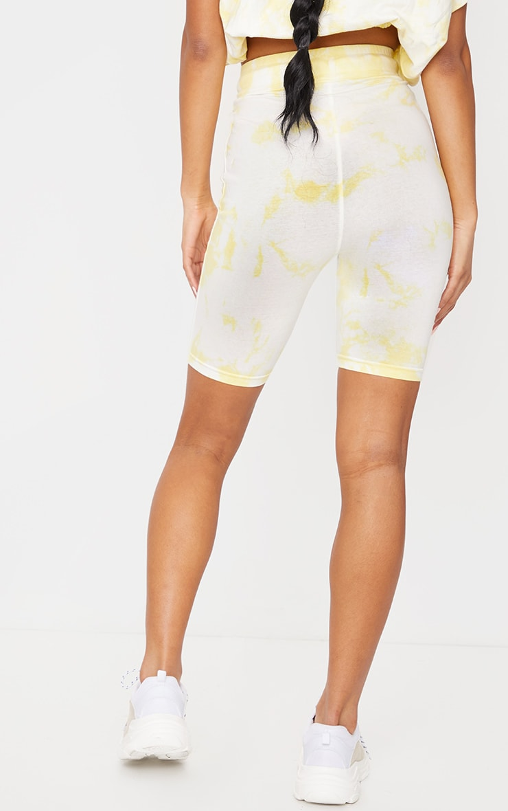 PRETTYLITTLETHING Yellow Tie Dye Cycle Shorts 3