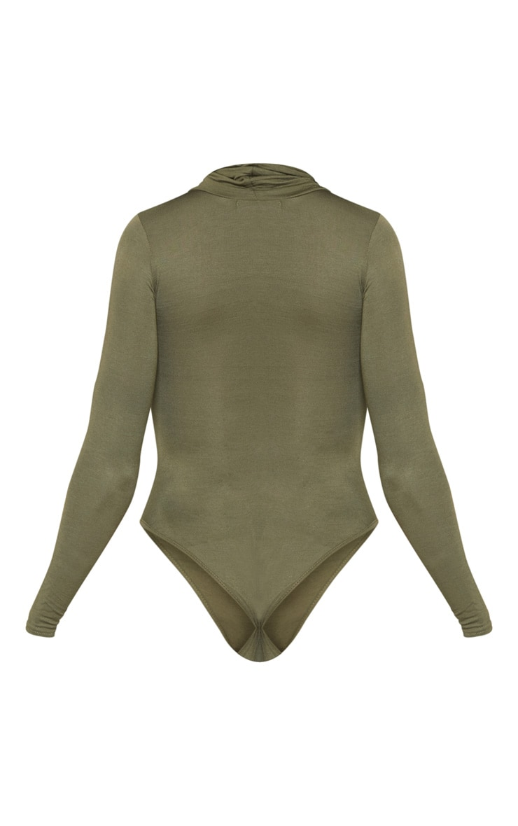Khaki Roll Neck Long Sleeve Bodysuit 4