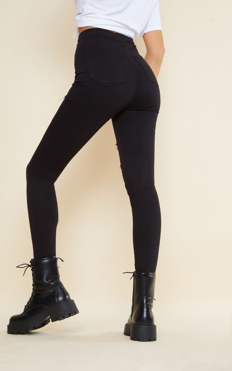 PRETTYLITTLETHING Tall Black Rip Ripped Disco Skinny Jeans 3