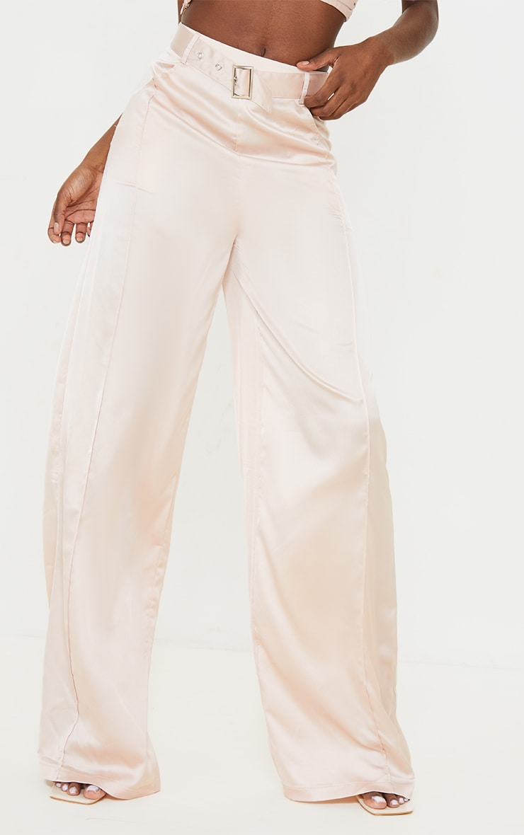 Tall Stone Satin High Waisted Belted Trousers 2