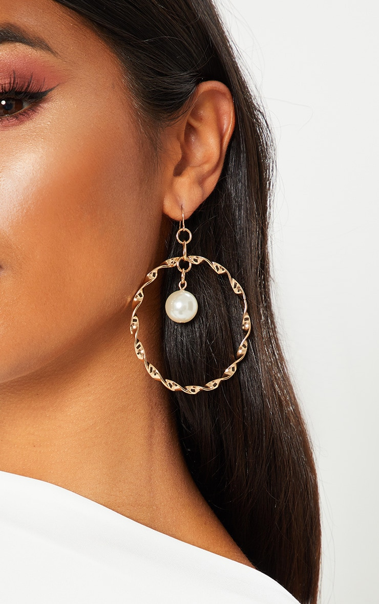 Gold Twist Pearl Hoops 1
