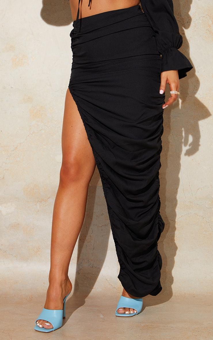 Black Woven Ruched Side Detail Split Leg Midaxi Skirt 2