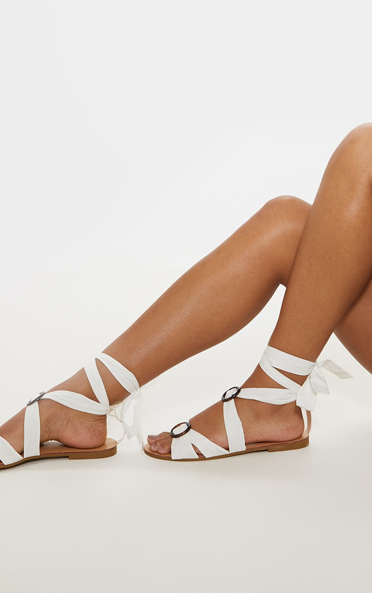 White Tortoise Ghillie Lace Up Sandal 2