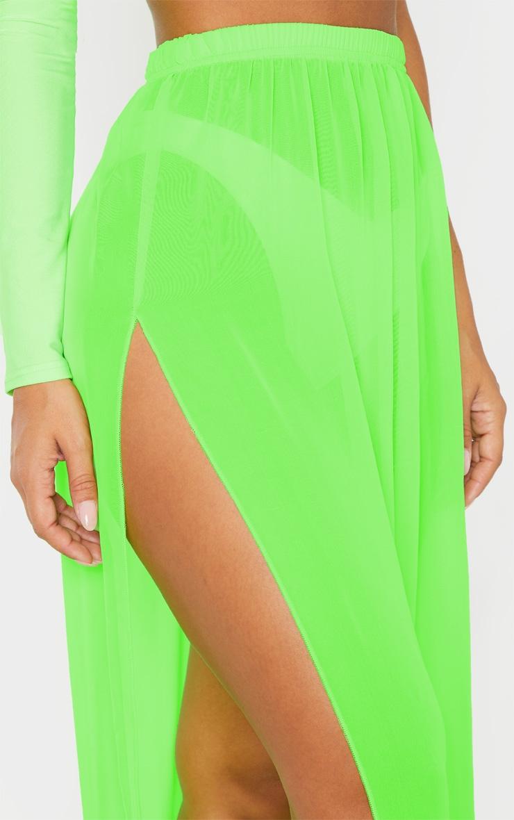 Neon Lime Chiffon Split Side Maxi Skirt 6