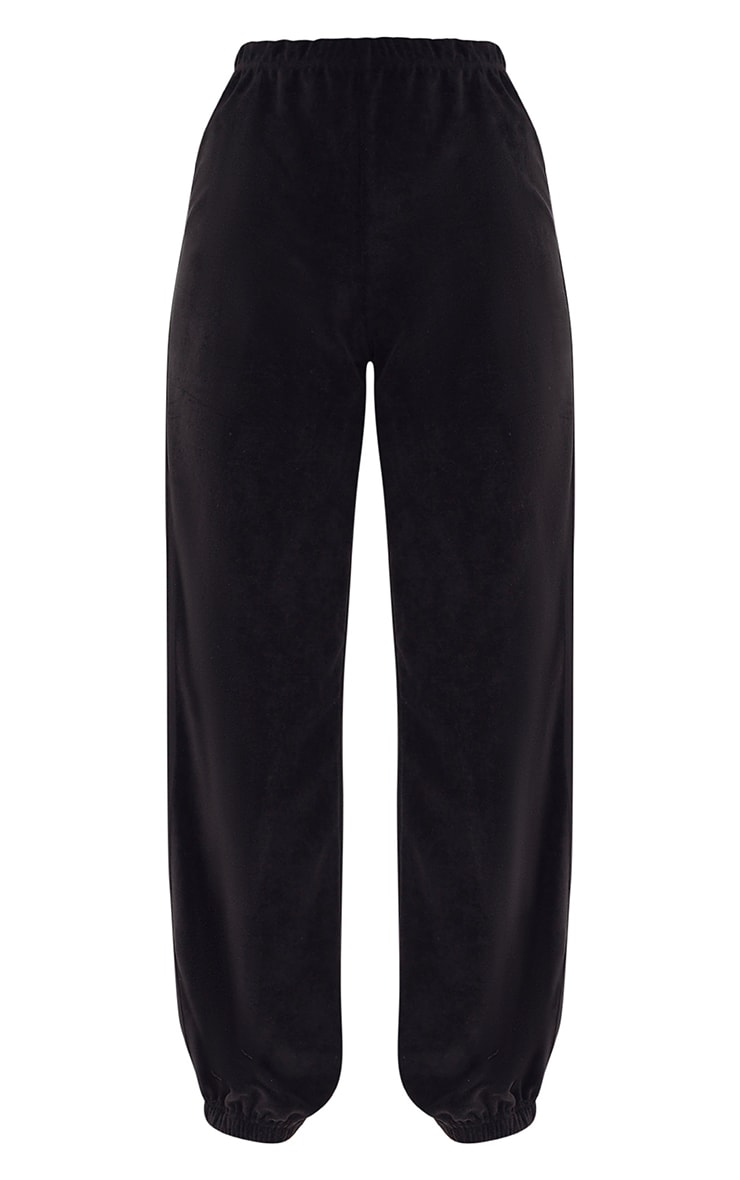 Black Velour Side Stripe Joggers  3