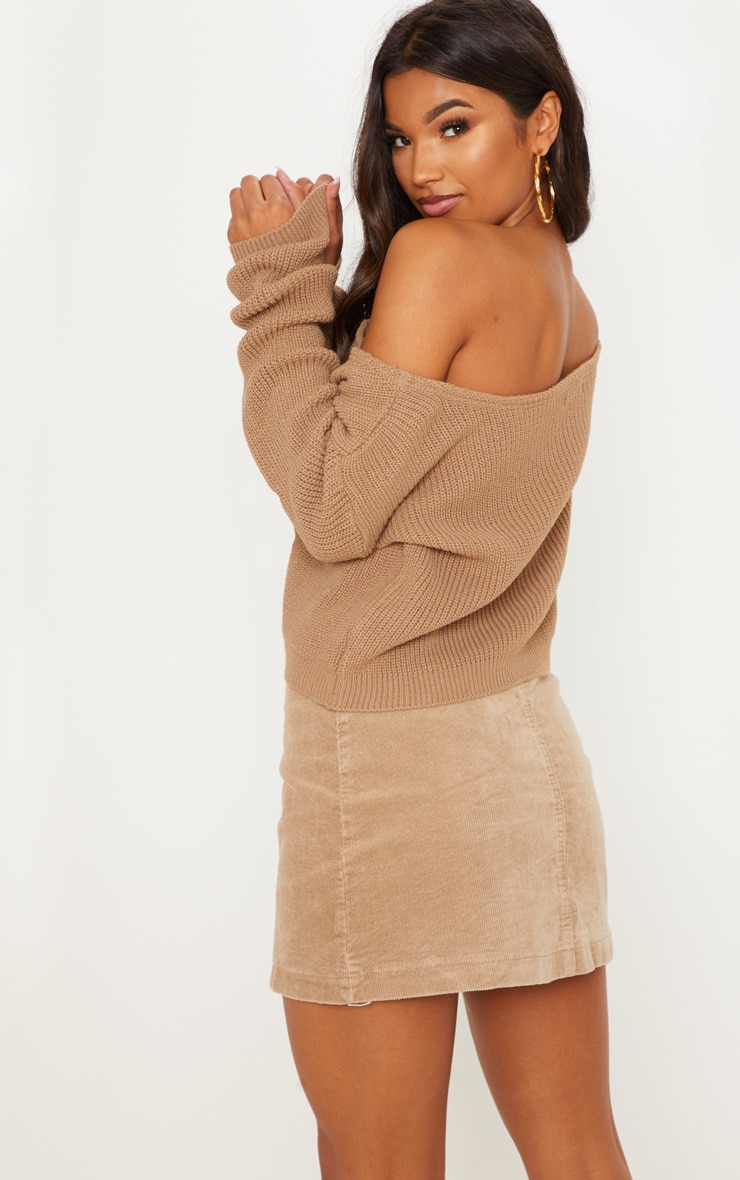 Taupe Off The Shoulder Knitted Crop Jumper 2