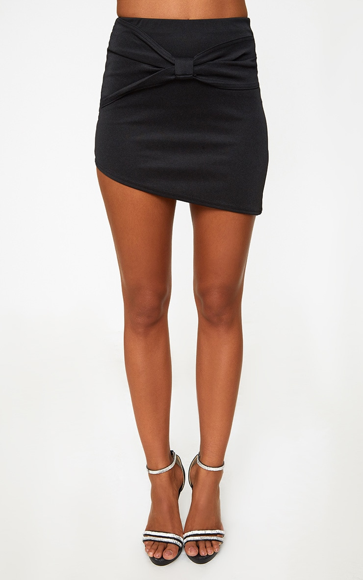 Black Bow Panel Asymmetric Mini Skirt 2