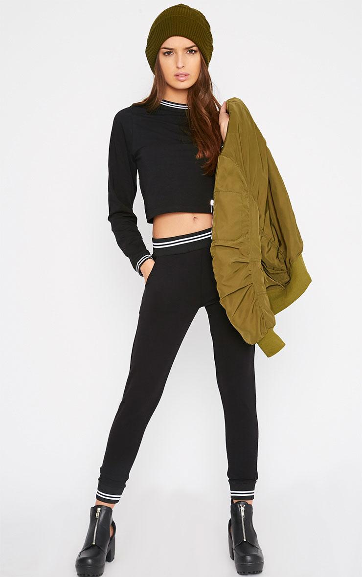 Celine Black Sports Trim Long Sleeve Top  3