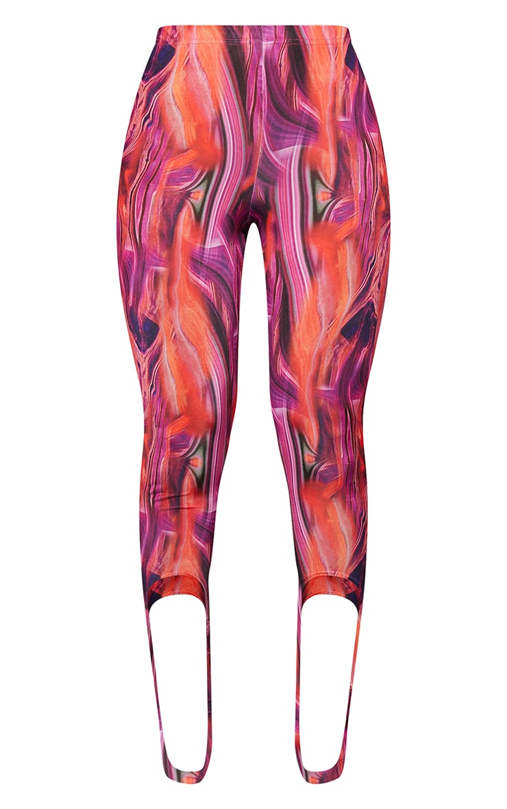 Bright Pink Abstract Print Slinky Stirrup Leggings 5
