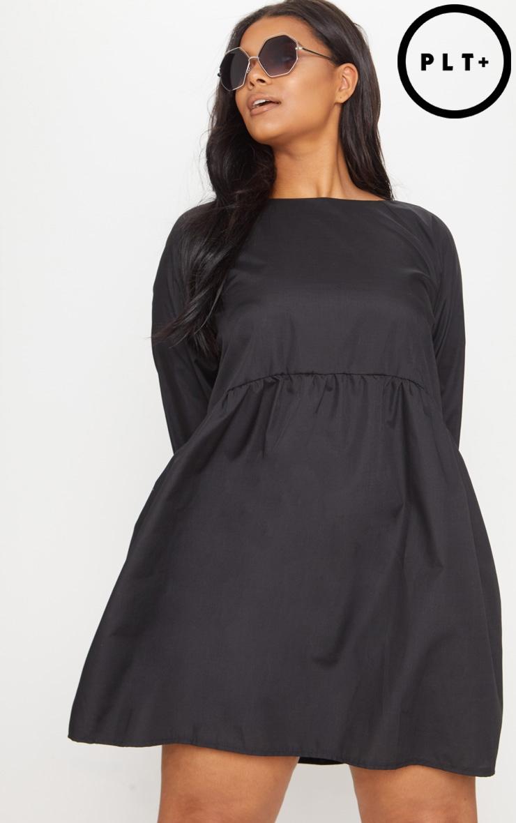 Plus Black Poplin Smock Dress 1
