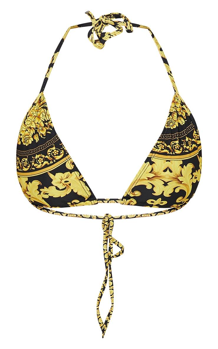 Black Chain Print Triangle Bikini Top 3