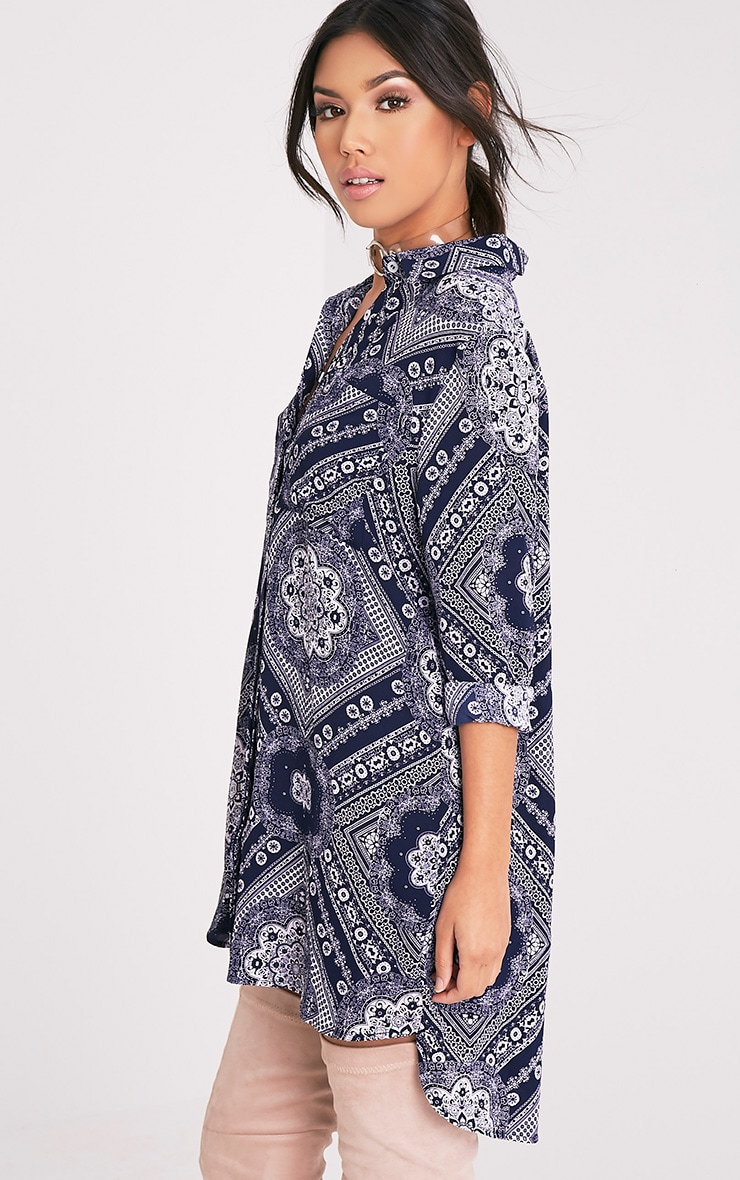 Camille Navy Paisley Print Shirt Dress 4